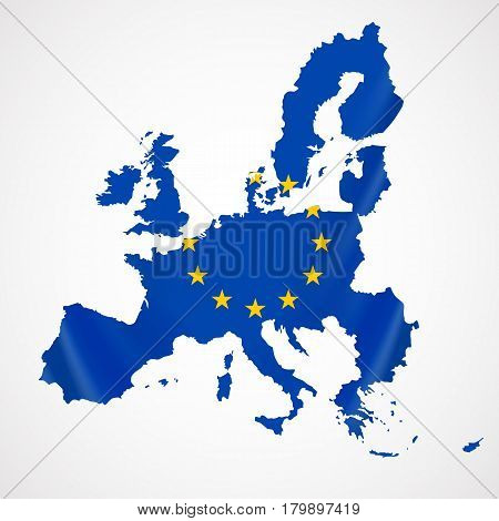 Map of European union and EU flag illustration. Vector Illustration