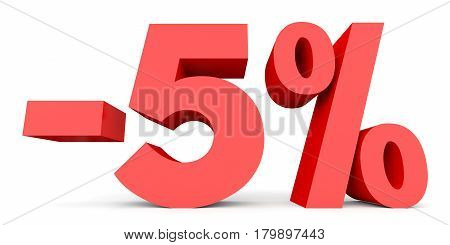 Minus Five Percent. Discount 5 %.