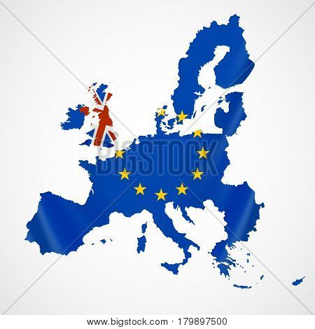 Map of Europe with European Union members and Great Britain or United Kingdom in brexit. Vector illustration