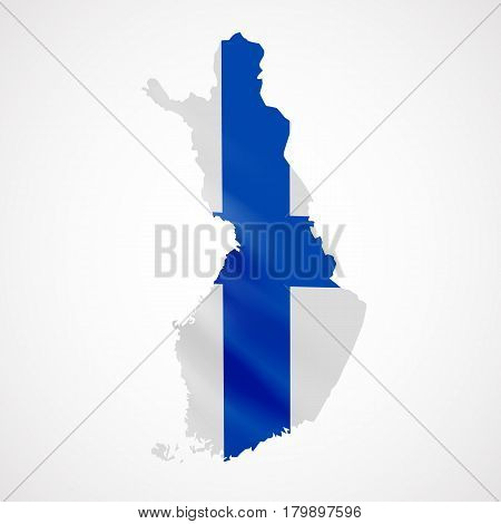 Hanging Finland flag in form of map. Republic of Finland. National flag concept. Vector illustration.