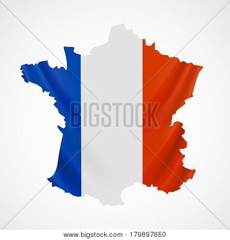 Hanging France flag in form of map. French Republic. French national flag concept. Vector illustration.