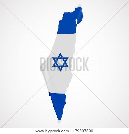 Hanging Israel flag in form of map. State of Israel. Israeli national flag concept. Vector illustration.