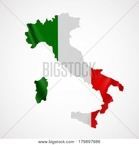 Hanging Italy flag in form of map. Italian Republic. National flag concept. Vector illustration.