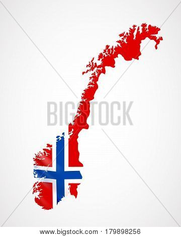 Hanging Norway flag in form of map. Kingdom of Norway. National flag concept. Vector illustration.