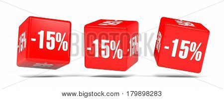 Fifteen Percent Off. Discount 15 %. Red Cubes.