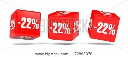 Twenty Two Percent Off. Discount 22 %. Red Cubes.