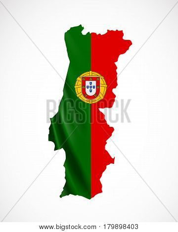 Hanging Portugal flag in form of map. Portuguese Republic. National flag concept. Vector illustration.