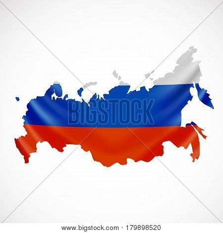 Hanging Russia flag in form of map. Russian Federation. National flag concept. Vector illustration.