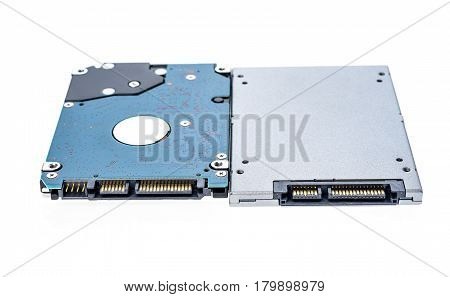 "Solid state drive SSD next to 25"" HDD size comparison. Comparison of two laptop drives. SATA - data and electricity connectors view shallow depth of field. Isolated on white background. poster"