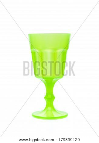 Plastic Toy Vine Or Champagne Glass Isolated On White.