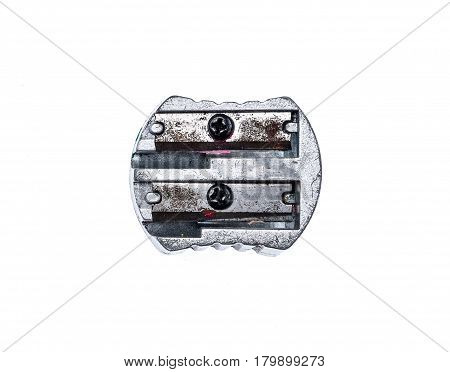 Old Used Silver Metallic Steel Pencil Sharpener Isolated On White.