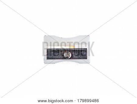 Old Used White Plastic Pencil Sharpener Isolated On White.