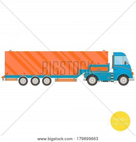 Cartoon transport. Semi-trailer truck vector illustration. View from side.