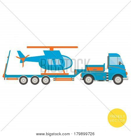 Cartoon transport. Lorry with helicopter vector illustration. View from side.