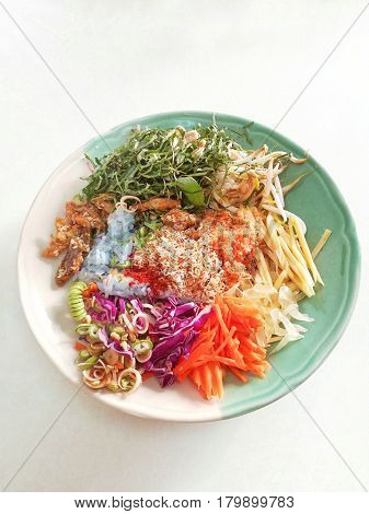 Thai Southern Spicy Rice Salad with Vegetables