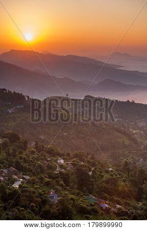 Morning At Sarangkot View Point Near Pokhara In Nepal