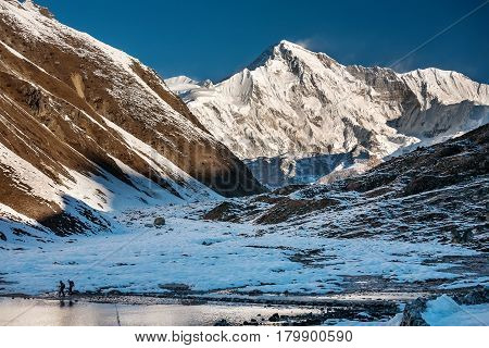 View to Pumori mount in Gokyo valley in Everest region Nepal