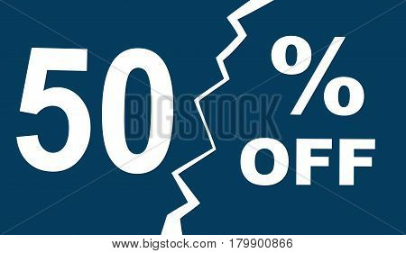 Advertisement leaflet, flyer, sale sticker with advertising offer. Vector illustration with promotional text 50 off, half price. Horizontal location.