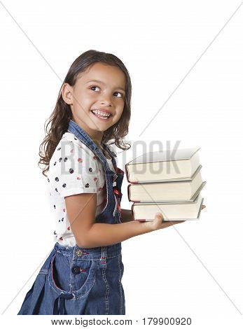 Yung Girl Holding Stack Of Books