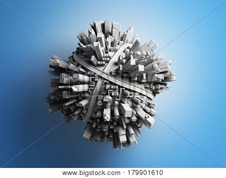 Megalopolis Aerial View 3D Render Image On Blue