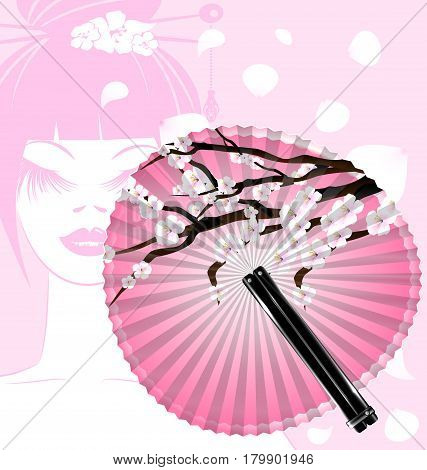 pink background and the rounde blossom fan with abstract face of girl