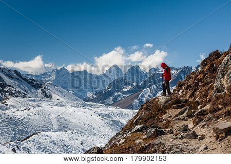Trekker In Khumbu Valley On A Way To Everest Base Camp