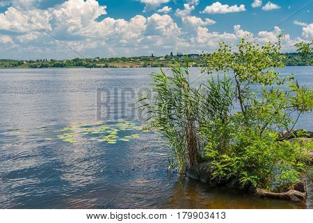 Tranquil landscape on a Dnepr river at June in central Ukraine