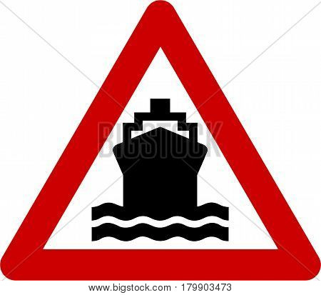 Warning sign with ship symbol on white background