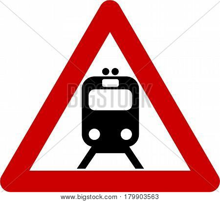 Warning sign with train symbol on white background