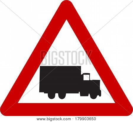 Warning sign with truck symbol on a white background