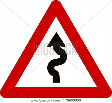 Warning sign with winding road symbol on white background