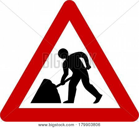 Warning sign with road works symbol on white background
