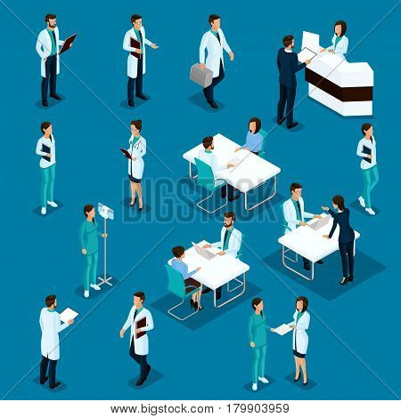 Set Isometric Doctors Hospital Staff Nurse 3D surgeons and patients. Health experts hospital isolated on a blue background. Vector illustration.