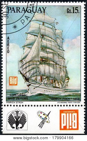 UKRAINE - CIRCA 2017: A postage stamp printed in Paraguay shows Gorch Fock three-masted barque built for educational purposes commissioned by the German Navy circa 1958