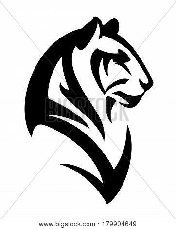 tiger profile head - black and white animal vector portrait