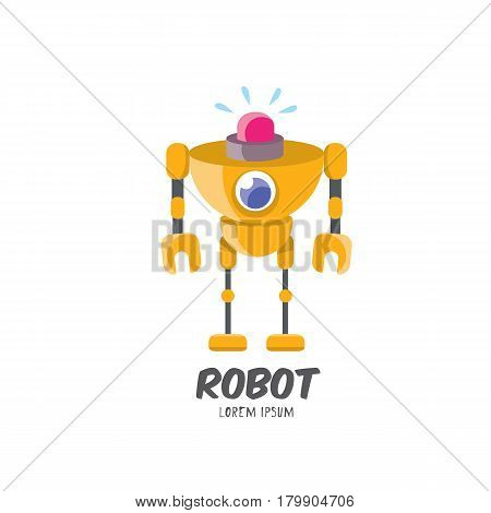 vector cartoon cute flat robot icon isolated on white. orange funny robot logo design template