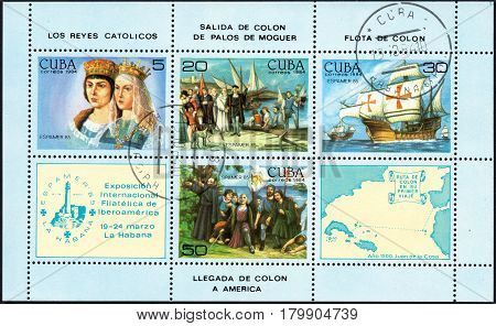 UKRAINE - CIRCA 2017: A postage stamp printed in Cuba shows scenes related to the discovery of America by Columbus from the series International Philately Exhibition of Iberoamerica circa 1984