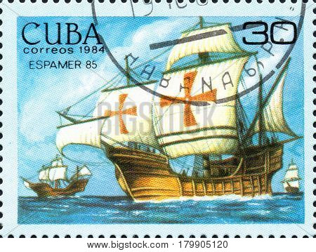 UKRAINE - CIRCA 2017: A postage stamp printed in Cuba shows Columbus fleet from the series International Philately Exhibition of Iberoamerica Havana Espamer 85 circa 1984