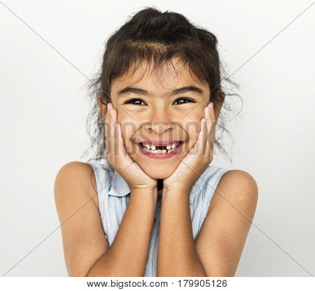 Little Girl with Smiling Face Expression Studio Portrait