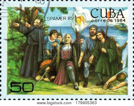 UKRAINE - CIRCA 2017: A postage stamp printed in Cuba shows Columbus's arrival in America from the series International Philately Exhibition of Iberoamerica Havana Espamer 85 circa 1984