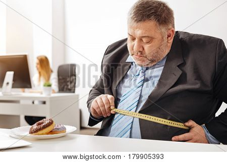To eat or not to eat. Corpulent hungry indecisive man making some measurements and thinking about changing his lifestyle while a plate with doughnuts standing before him