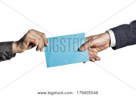 Transfer of correspondence between people. Isolated on white background.