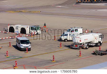 Kloten, Switzerland - 28 March, 2017: view in the Zurich Airport. The Zurich Airport, also known as the Kloten Airport, is the largest airport in Switzerland.