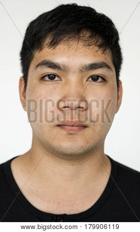 Man photoshooting in studio close up photograph