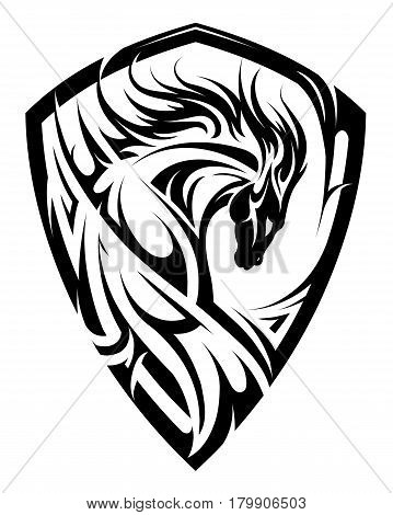 Horse emblem on the shield crest shape