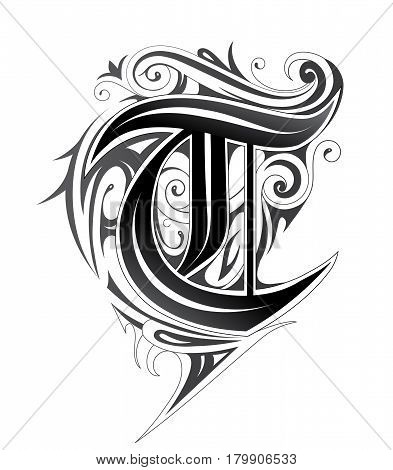 Decorative letter shape. Font type T in tribal style