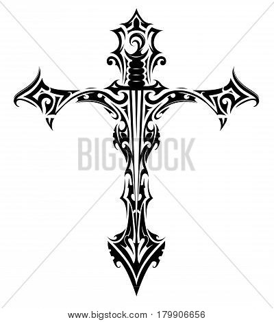 Cross with sword gothic style tattoo isolated on white