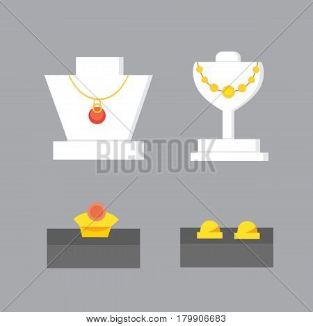 Set of jewelry items. Gold and gemstones precious accessorize vector