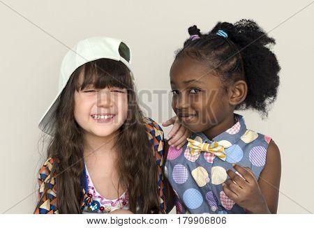 Little Lovely Girls Smiling Together