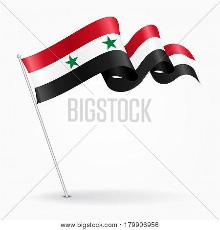 Syrian pin icon wavy flag. Vector illustration.